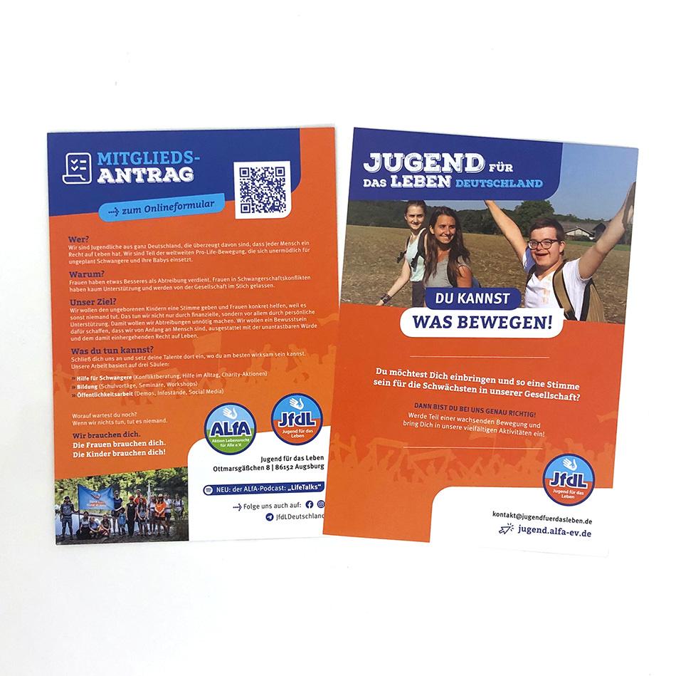 ALfA – Flyer Jugend für das Leben Mitgliedsantrag